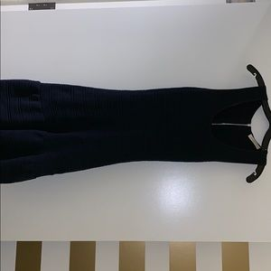 Sandro navy blue knit dress with open back.